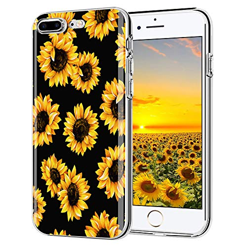 "iPhone 6 Plus case, iPhone 6s Plus case, AIKIN Simply Designed Flower Pattern Case Soft TPU Flexible Case Shockproof Protective Cute Case for iPhone 6s Plus, iPhone 6 Plus 5.5"" (Sunflower + Black)"
