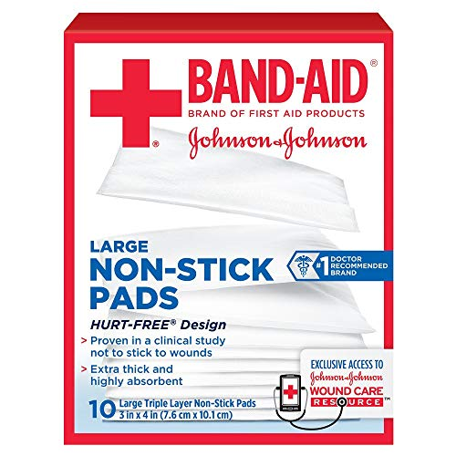 BAND-AID First Aid Non-Stick Pads, Large, 3 in x 4 in, 10 ea (Pack of 7), Packaging May Vary