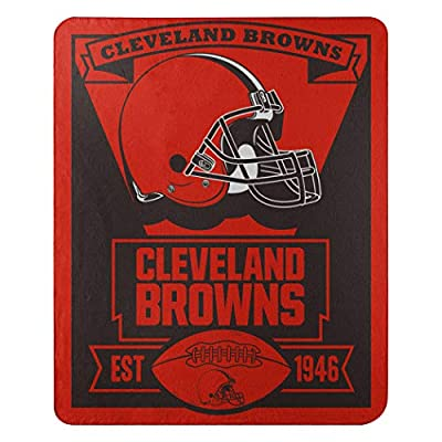 "The Northwest Company Officially Licensed NFL Cleveland Browns Marque Printed Fleece Throw Blanket, 50"" x 60"", Multi Color"