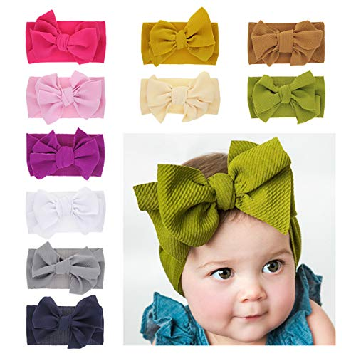 SKEPO Baby Meisje Hoofdbanden Set, Schattige Bloem Boog Geknoopt Kapsels Pasgeboren Baby Peuter Haarbanden Zachte Nylon Turban Knoop