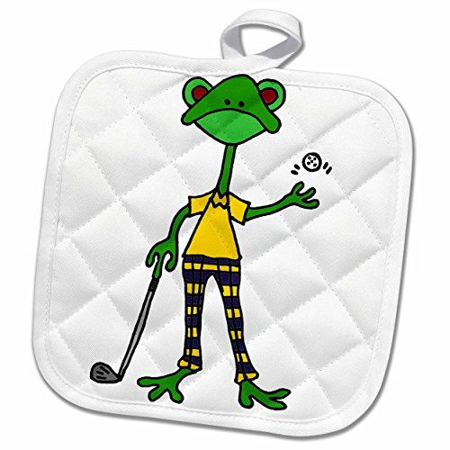 3dRose Cool Artistic Funny Frog Playing Golf Potholder 8 x 8