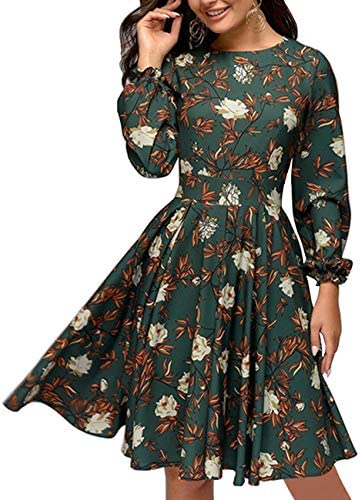 Simple Flavor Women s Floral Vintage Cocktail Swing Dress Ruffle Sleeve Green XL product image