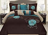 Goldenlinens Brown Turquoise Grey Yellow Western Style 7 Pcs Embroidery Comforter Set, King