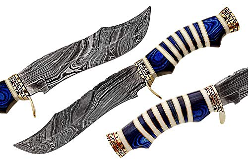 Damascus Steel Hunting Knife - Fixed Blade Knives with Sheath SG Blue