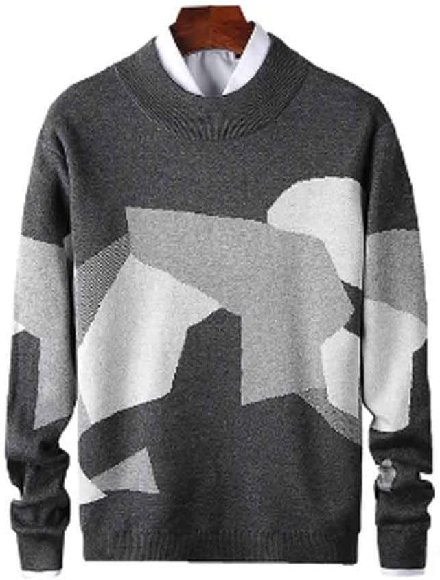 ZYING Mens Casual Sweater Fit Knitted Patchwork Color Mens Slim Sweaters Cotton Long Sleeve Round Collar Male Warm Pullovers (Color : Style 2)