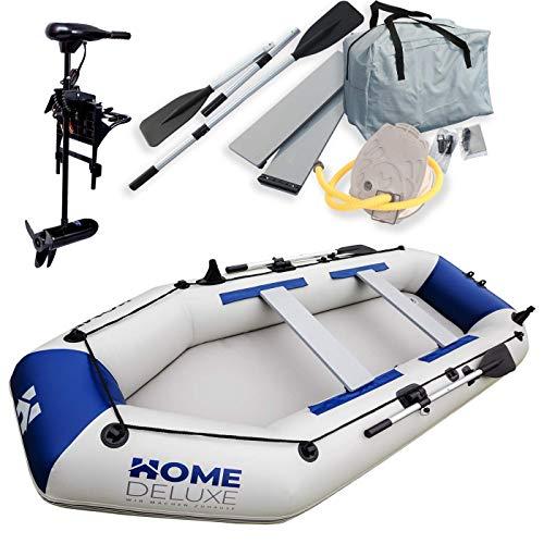 Home Deluxe - Schlauchboot Large inkl. Motor - Material: strapazierfähiges PVC- Maße: LxB ca. 330 x 136 cm - für bis zu 5 Personen | Beiboot, Motorboot, Ruderboot