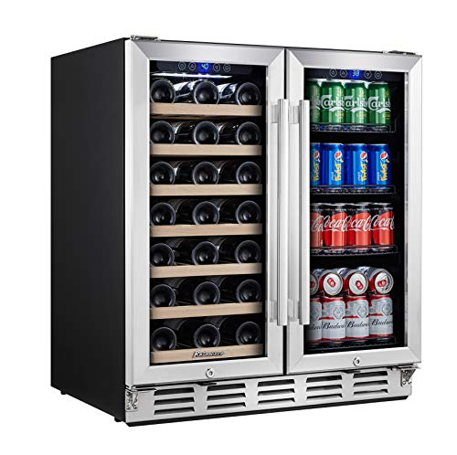Kalamera Wine and Beverage Refrigerator - 30 inch with Glass Front Door - Beer,...
