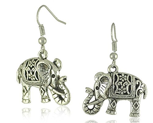 SaySureFR - Unique Tibetan Silver Hollow Carved Elephant Drop Dangle Earrings