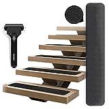 LGYKUMEG 15 Tiras Antideslizantes escaleras Antideslizantes tapetes tapetes para peldaños de escaleras Tiras Antideslizantes con Rollo de instalación para escaleras Exteriores e Interiores,Negro