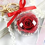 SXJC Flor Rosa para El Día La Madre, Flores para Siempre con Llavero Colgante Regalo Práctico para El Día De La Madre,Red