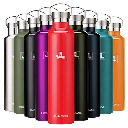 スポーツボトル 真空断熱 保冷水筒 ステンレス鋼304 魔法瓶 直飲み 0.5/0.6/0.75/1リットル (レッド, 600ml)