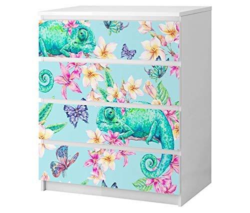 Set Möbelaufkleber für Ikea Kommode MALM 4 Fächer/Schubladen blau bunt Schmetterlinge Blumen Chameleon abstrakt Kat2 Hintergrund ML4 Aufkleber Möbelfolie sticker (Ohne Möbel) Folie 25B2501