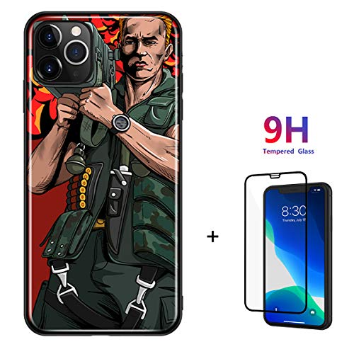Algood Store Case for Apple iPhone 11 Pro Max case with Tempered Glass Commando Arnold Schwarzenegger Cannon Design iPhone case (Red, iPhone 11 Pro Max 6.5'' case)
