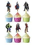 24x Cupcake Topper Picks (Avengers Heros...