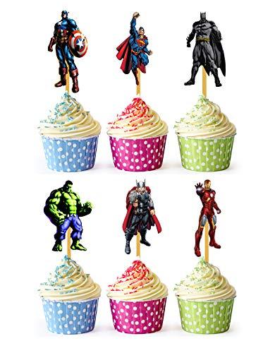 24x Cupcake Topper Picks (Avengers Heros Superman)