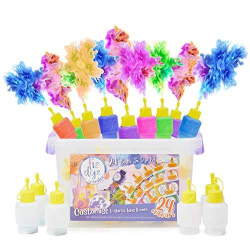 KreativeKraft Tie Dye Set für Kinder, Batikfarben Set mit 24 Stoff Textil Farben, Batik Kit für Kinder und Teenagers, Kreative Basteln Geschenke für Kinder