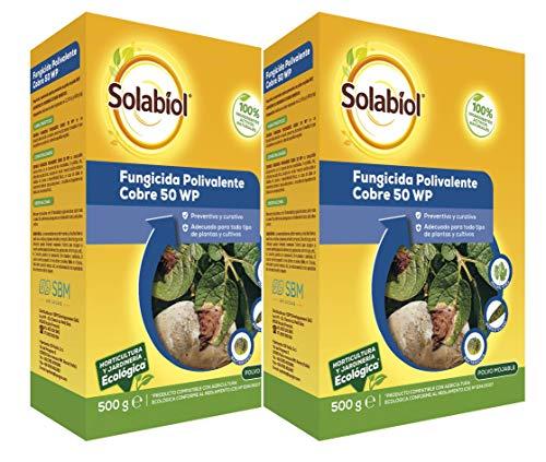 Solabiol Fungicida de Cobre ecológico para Plantas 100% orgánico con acción preventiva y curativa, Incoloro, Pack 2 x 500 g