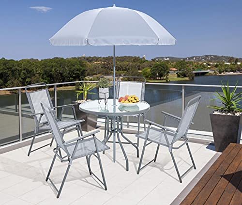 Esterno Living 4 or 6 Seat Textoline Garden Furniture Glass Dining Set with Parasol Round Rectangle (4 Seater)