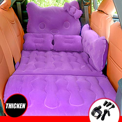 Back Flocking Surface Car Air Bed Travel Thickened Inflatable Air Mattress Camping Sleeping Pad With 2 Air Pillows Air Pump Universal SUV Truck Blow Up Bed Purple