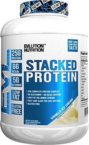Evlution Nutrition Stacked Protein Protein Powder with 25 Grams of Protein, 5 Grams of BCAA's and 5 Grams of Glutamine (Vanilla Ice Cream, 4 LB)