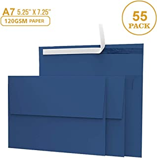 55 5x7 Navy Blue Invitation Envelopes - for 5x7 Cards - A7 - (5 ¼ x 7 ¼ inches) - Perfect for Weddings, Graduation, Baby Shower - 120 GSM - Peel, Press & Self Seal - Square Flap