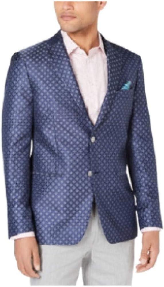 Tallia Men's Slim-Fit Jacquard Dinner Jacket Navy Grey 40 Regular