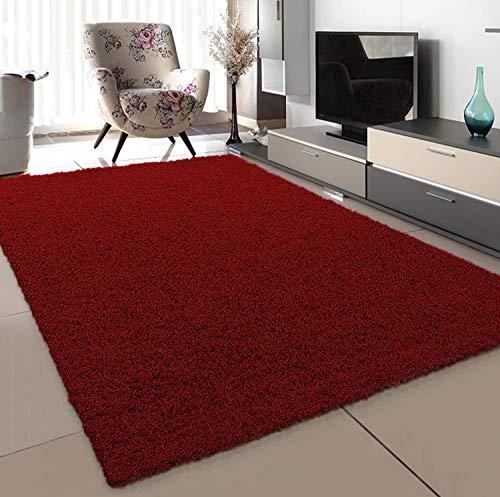 SANAT Teppich Wohnzimmer - Rot Hochflor Langflor Teppiche Modern, Größe: 80x150 cm