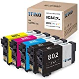 TEINO Remanufactured Ink Cartridges Replacement for Epson 802 802XL T802 T802XL use with Epson Workforce Pro WF-4734 WF-4740 WF-4730 WF-4720 EC-4040 EC-4030 (Black, Cyan, Magenta, Yellow, 5-Pack)