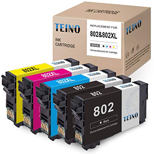 TEINO Remanufactured Ink Cartridge Replacement for Epson 802 802XL T802 T802XL use with Epson Workforce Pro WF-4734 WF-4740 WF-4730 WF-4720 EC-4040 EC-4030 (Black, Cyan, Magenta, Yellow, 5-Pack)