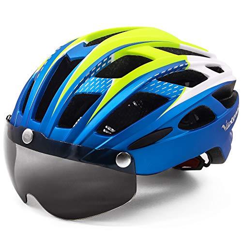 VICTGOAL Casco Bici con Visiera Magnetica Casco da Ciclismo Unisex per Bici da Corsa All'aperto Sicurezza Sportiva Casco da Bicicletta Superleggero Regolabile 57-61 cm (Blu Metallico)