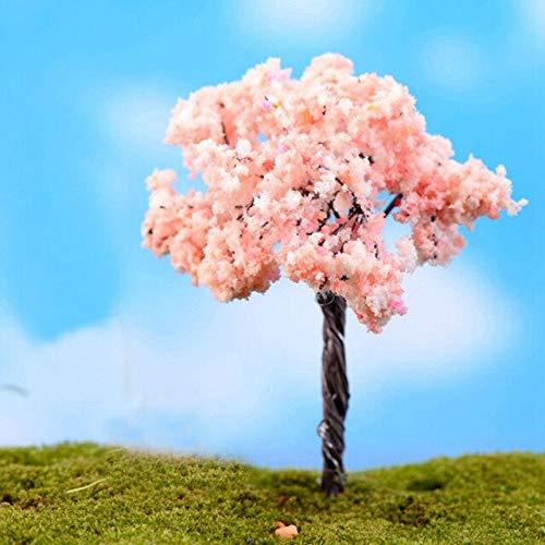 HONIC 2X Mini-Bäume-Fee-Garten-Dekoration Ornament Harz Handwerk Miniatur-Landschaft Bonsai Sukkulente Topfgarten Terrarium Dekor: Kirschblüten-Baum