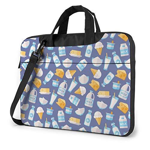 15.6 inch Borsa Trasporto per Laptop Portatile Borsa Messenger Custodia da Trasporto Custodia Prodotti della bevanda del gelato del formaggio del latte della latteria sveglio