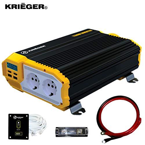Krieger 1100 Watt Wechselrichter, 12V DC bis 230V AC Modifizierter Sinuswelle Spannungswandler, 230 Volt europäische Steckdosen und Zwei USB Steckern, Installationskit Enthalten - SGS CE Zertifiziert