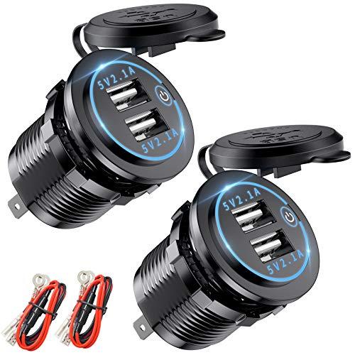 Deyooxi USB Auto Steckdose mit Touch Schalter,2 Stück KFZ USB Ladegerät 5V 4.2A Schnellladung mit LED Voltmeter,wasserdichte und Staubdicht für 12V 24V Fahrzeuge KFZ Boot Motorrad SUV Bus LKW,Blau