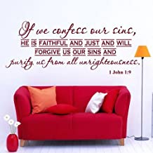 Wall Decals Quotes Bible Verse Psalm 1 John 1:9 If We Confess Our Lord God Quote Vinyl Sticker Living Room Bedroom Decal H...