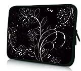 Luxburg® Design Tasche Hülle Sleeve Schutzhülle für Tablet PC 8 Zoll: Apple iPad mini (auch Retina) | Samsung Galaxy Tab 3 (8 Zoll) / Note 8.0 | Intenso TAB814 (8 Zoll) | Asus MeMO Pad 8 | Odys Titan (8 Zoll) | Lenovo IdeaPad Yoga (8 Zoll) | Acer Iconia W3 (8 Zoll) , Motiv: Weiße Blumen auf Schwarz