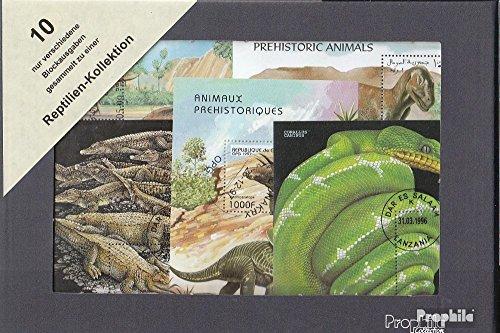 Motive 10 Verschiedene Reptilien Blöcke (Briefmarken für Sammler) Amphibien / Reptilien / Saurier