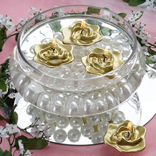 Efavormart Set of 20 Gold Unscented Floating Rose Candle for Wedding Party Birthday Centerpieces Home Decorations Supplies