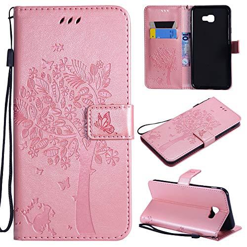 nancencen Hülle Kompatibel mit Samsung Galaxy J4 core, Flip-Hülle Handytasche - Standfunktion Brieftasche & Kartenfächern - Baum & Katze - Rose Gold