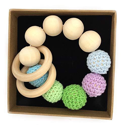 wide smile Bracelet à mâcher Large Sourire en Bois pour bébé garçons et Filles Crochet Non Toxique