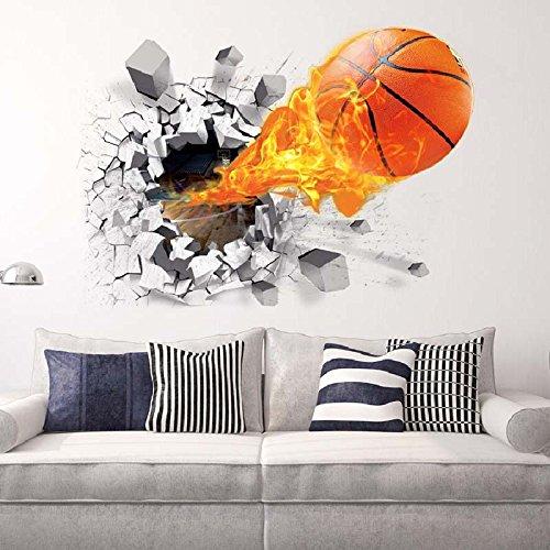 Wall Sticker 3D-Basketball Wand Aufkleber Stereo 3D Creative Sticker 50 * 70 cm