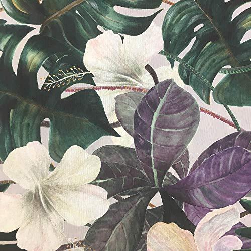 Tela por metros de loneta estampada - Ancho 280 cm - Largo a elección de 70 en 70 cm | Vegetación de la Jungla - Verde, blanco, morado