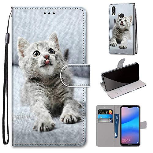 Miagon Flip PU Leder Schutzhülle für Huawei P20 Lite,Bunt Muster Hülle Brieftasche Case Cover Ständer mit Kartenfächer Trageschlaufe,Grau Katze