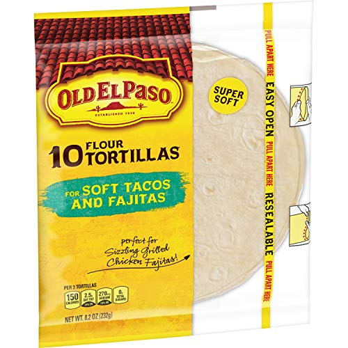 Old El Paso Flour Tortillas, Soft Tacos and Fajitas, 10 Count (Pack of 12)