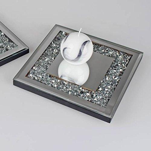 formano Spiegelplatte, Spiegeltablett Mirror Stones Glitzersteinchen 20x20cm