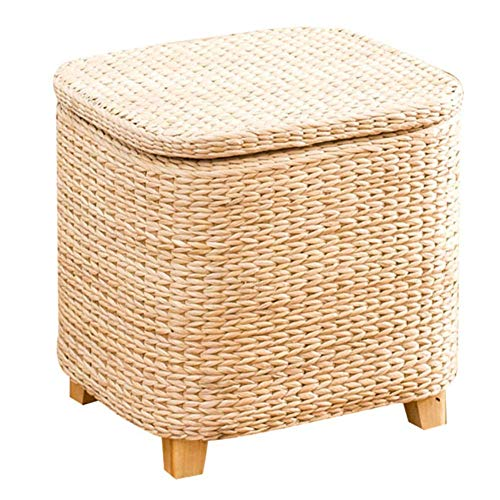 Home Woven Storage Cubes Seagrass Decorative Ottoman Living Room Side Table Store Blankets Cushions Magazines Books-i 30x22x27cm (12x9x11inch)