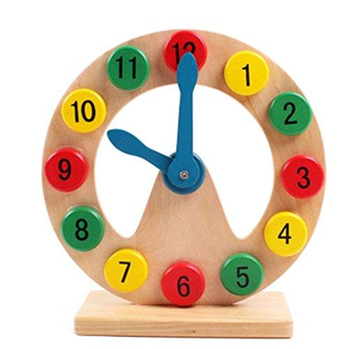 Demarkt Holzform Sortierung Uhr Lehre Uhren Digital Pädagogisches Spielzeug Einfache Holz Lernuhr für Kleinkinder Kinder