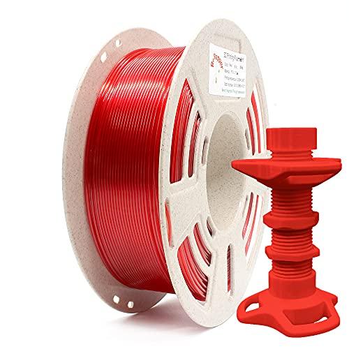 Reprapper Filament PETG 1.75 (± 0.03 mm) 1kg pour Imprimante 3D, PETG Très Résistant, Enroulé Parfait sur Bobine Recyclée, Rouge Translucide