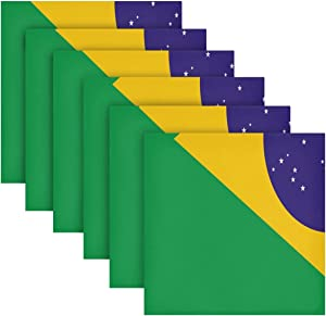 AUUXVA YKMustwin Cloth Napkins Brazil Flag Dinner Napkin Set of 6 Washable Reusable Soft Napkins Cloth Table Decor for Kitchen Wedding Banquet 20 x 20 in