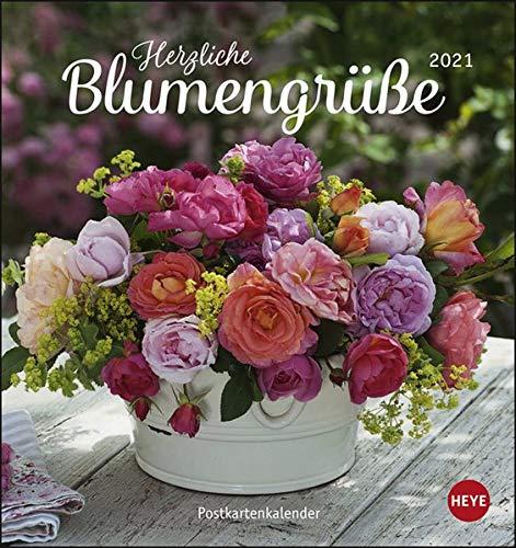 Herzliche Blumengrüße Postkartenkalender 2021 - Kalender mit perforierten Postkarten - zum Aufstellen und Aufhängen - mit Monatskalendarium - Format 16 x 17 cm